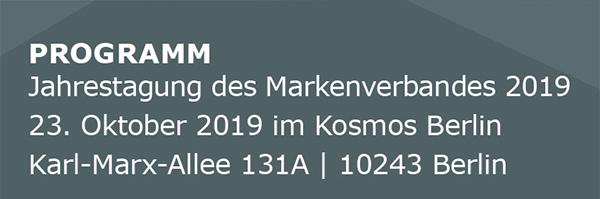 PROGRAMM - Jahrestagung Markenverband 2019 - 23. Oktober 2019